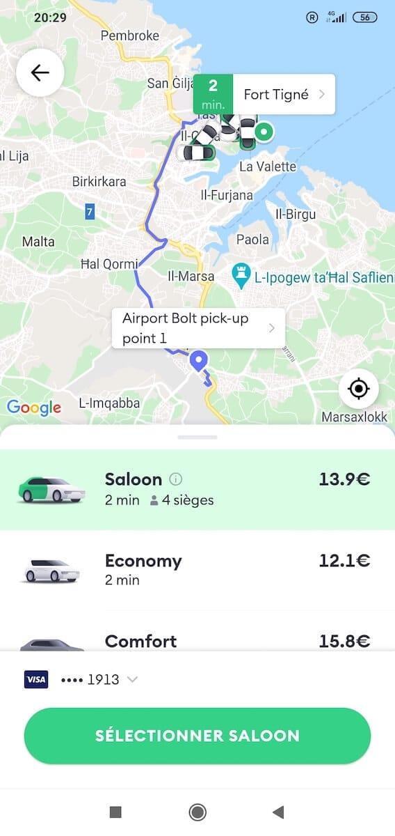 Condutores disponíveis entre o aeroporto de Saint Julian e Malta (Bolt)