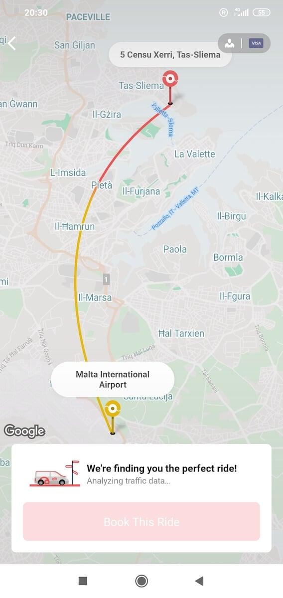 Aplicación de transporte compartido Cool Malta
