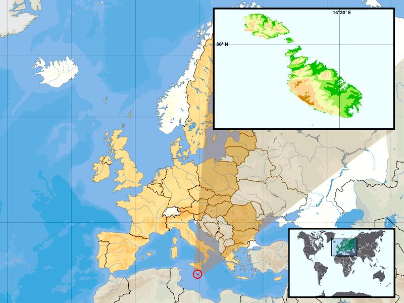 A posição de Malta no mapa da Europa